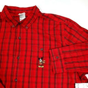 Disney Store XXL Red Plaid Shirt Mickey Mouse